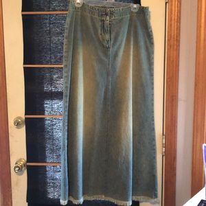 NY & Co Fringed Long Faded Denim Skirt, Size 6